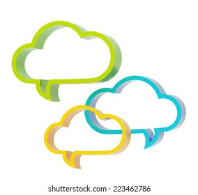 Composition of three colorful cloud shaped text bubbles isolated over the white background