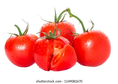 composition of tomatoes, a tomato with a carved slice