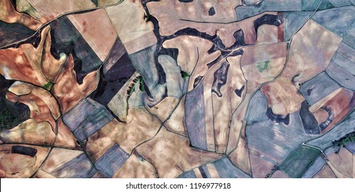 composition, tribute to Picasso, abstract photography of the Spain fields from the air, aerial view, representation of human labor camps, abstract, cubism, abstract naturalism,