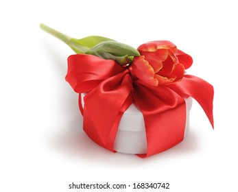 composition with tulips and gift box, valentine's or mother's day