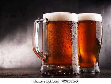 Composition with two glasses of beer.