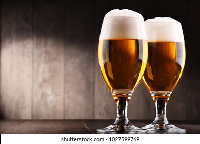 Composition with two glasses of lager beer.