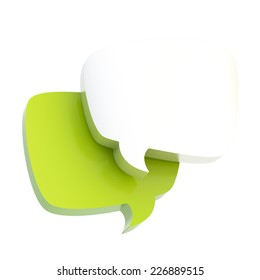 Composition of two white and green text bubbles isolated over the white background