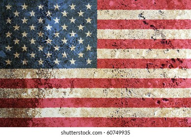 Composition of the US flag painted on a marble surface.
