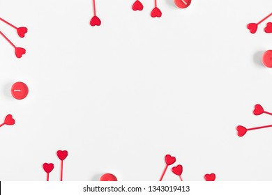 Composition Valentine's Day. Red heart on white background. Flat lay, top view, copy space