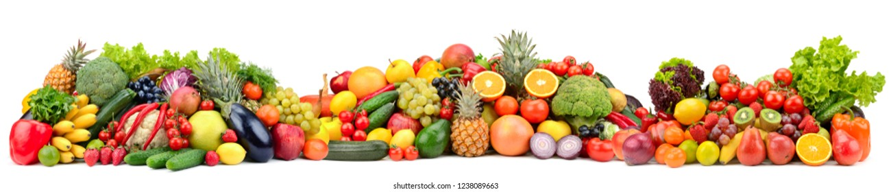 Composition variety fresh fruits and vegetables isolated on white background. Glass skinali.