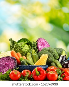 Composition with variety of fresh raw organic vegetables Detox diet