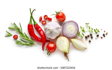 composition of various herbs and spices isolated on white background, top view