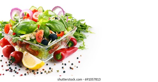 Composition with vegetable salad bowl. Balanced diet.