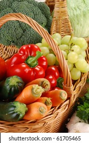 Composition with vegetables and wicker basket on kitchen table