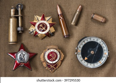 composition of Victory Day. orders, medals, compass, lighter, live ammunition.