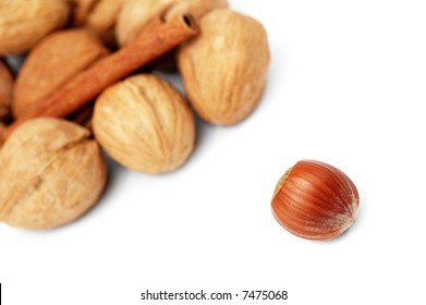 composition of walnut and cinnamon isolated on white background