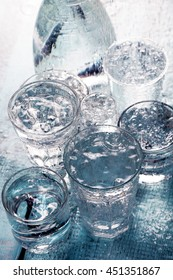 Composition of water glasses on the table. Water concept