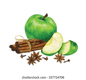 Composition of watercolor hand drawn sliced green apple with cinnamon sticks, cloves and star anise isolated on white background.