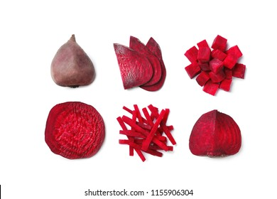Composition with whole and cut beets on white background, top view