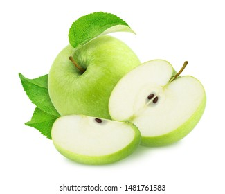Composition with whole and cutted green apples isolated on a white background.