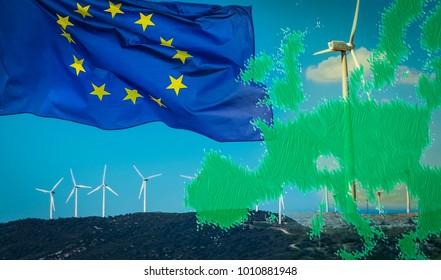 Composition with wind turbines, EU flag and EU green map. EU Renewable Energy Directive