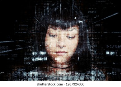 Composition of woman on  a digital environment suggesting cyber security concepts