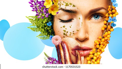 composition of women portraits with berries and flowers on white background