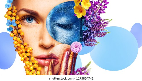 composition of women portraits with yellow berries and flowers on white background