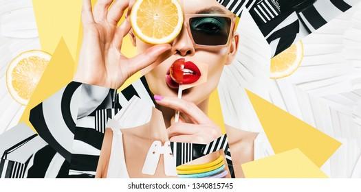Zusammensetzung von Frauen in Sonnenbrillen mit Lollipop und Zitrone auf gestreiftem Hintergrund