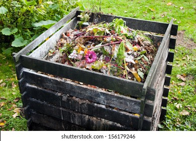 Compost bin in the garden