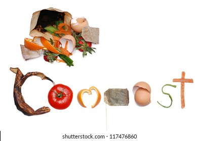 Compost message written out in kitchen scraps with a pile of compost in the top left corner. With room for text.