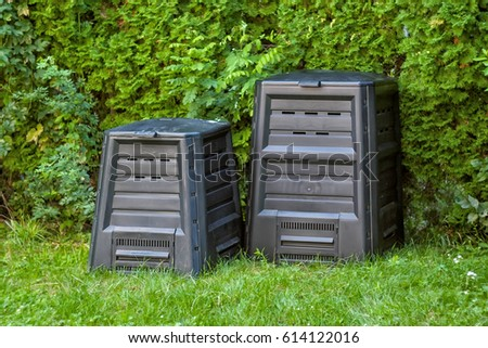 Compost Silos Backyard Two Different Sizes Stock Photo (Edit Now