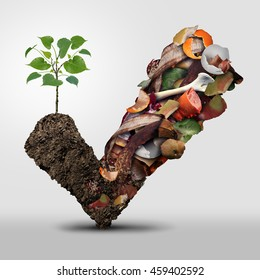 Compost symbol life cycle symbol and a composting stage concept as a pile of rotting fruits egg shells bones and vegetable food scraps shaped as a check mark with soil as an ecological plant growing.