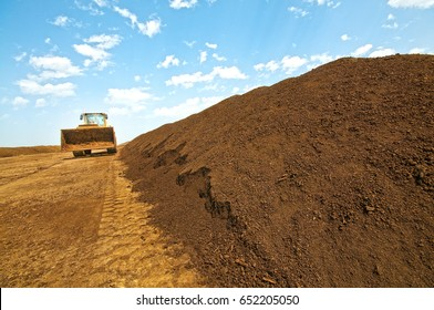 composted soil pile at the compost plant