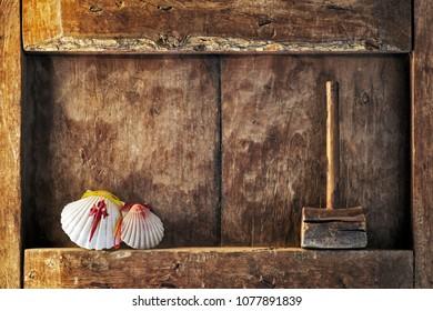 Compostela pilgrim scallops in wood background