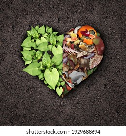 Composting love and compost or composted soil cycle as a composting pile of rotting kitchen scraps turning into organic fertilizer for plant growth shaped into a heart as a composite.