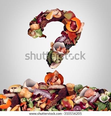Composting questions as a compost pile of rotting kitchen fruits egg shells and vegetable food scraps shaped as a question mark as organic waste for recycling as an environmentally responsible icon.