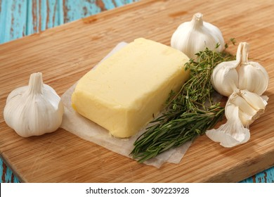 compound butter ingredients herb thyme rosemary garlic fresh homemade italian food tasty