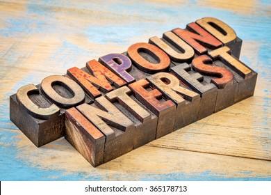 compound interest banner - text in vintage letterpress wood type against grunge wood