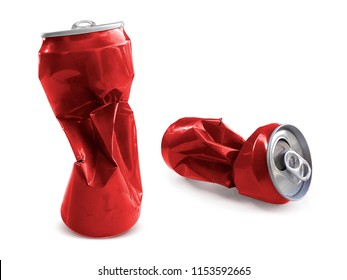 Compressed cans isolated on a white background