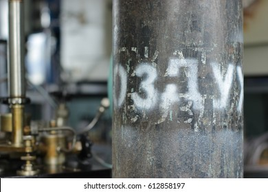 """The compressed gas cylinder has the inscription """"air"""".The concept of scientific laboratory. Laboratory and industrial equipment.Control and measuring equipment in the testing center.Technical progress"""