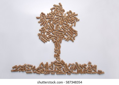 Compressed wood ecology pellet close up photo