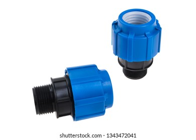 compression couplings and fittings for polyethylene pipes isolated on white background