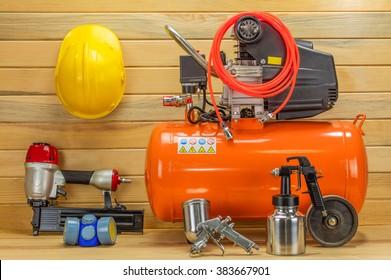 compressor , helmet and airbrush set