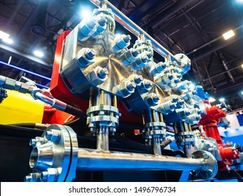 Compressor station. Chrome gas piping. Fragment of gas pumping equipment. Gasification services. Gasification of the factory. Compressor station at the enterprise. Pipes for pumping natural gas.