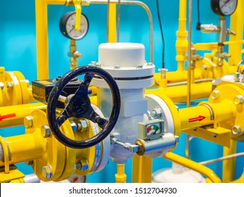 Compressor station in production. Crane for shut off pressure. Gas pipes. Gas unit. A fragment of a gas pipeline. Compressor station at the enterprise. Gasification of the enterprise. Pipeline