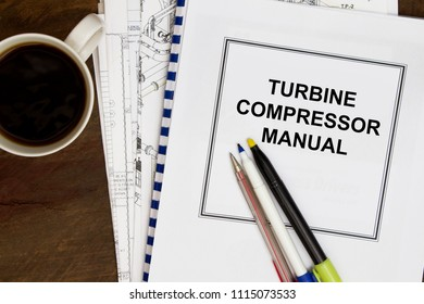 Compressor and turbine engine concept- cover sheet and documents in the background.