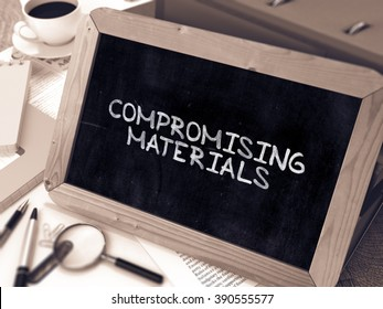 Compromising Materials Concept Hand Drawn on Chalkboard on Working Table Background. Blurred Background. Toned Image. 3D Render.
