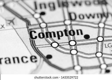 Compton. California. USA on a map