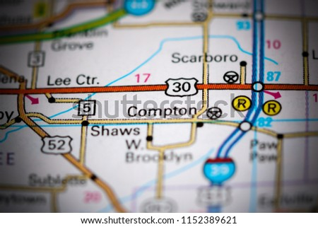 Compton Illinois Usa On Map Stock Photo Edit Now 1152389621