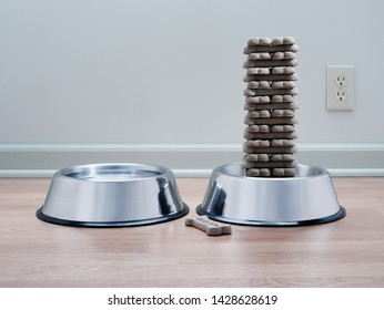 Compulsively and neatly stacked dog biscuits in metal pet food bowl with water bowl on wood floor with cool grey background