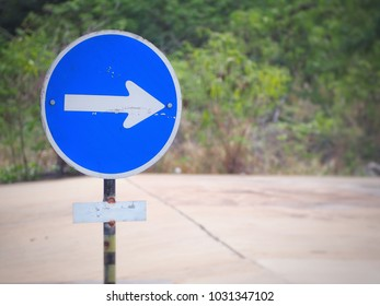 Compulsory turn right, Proceed right only warning sign label, Traffic warning signal label on the road, One way to the right on the street