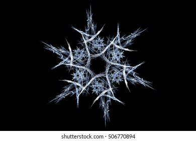 Computer abstract fractal snowflake on a black background