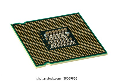Computer accessories, modern central processor, isolated,  turned, hyper DoF.